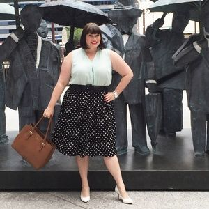 City Chic Polka Dot Midi Skirt - size M/18